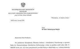 Prof. K. Smyk Przewodniczącą Rady ds. Niematerialnego...