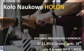 Spotkanie rekrutacyjno-wyborcze Koła Naukowego HOLON