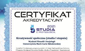 """Certyfikat """"Studia z Przyszłością"""" dla kierunku..."""