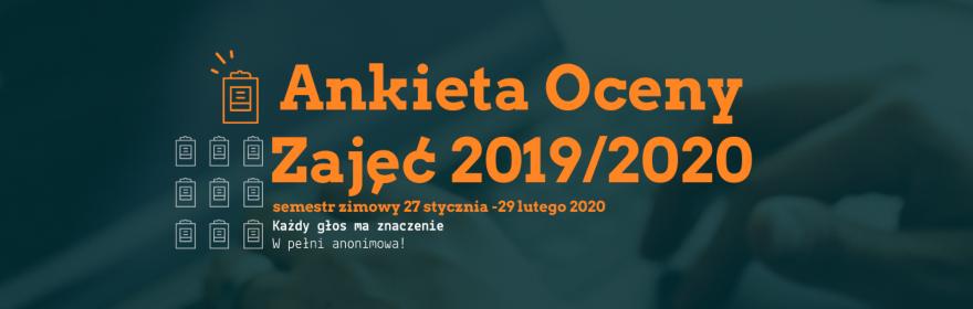 Ankieta oceny zajęć - semestr zimowy 2019-2020
