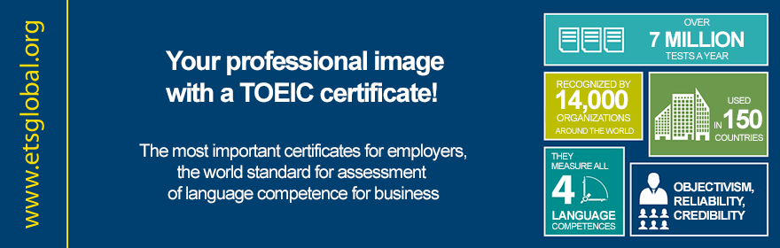 Your professional image with a TOEIC certificate!