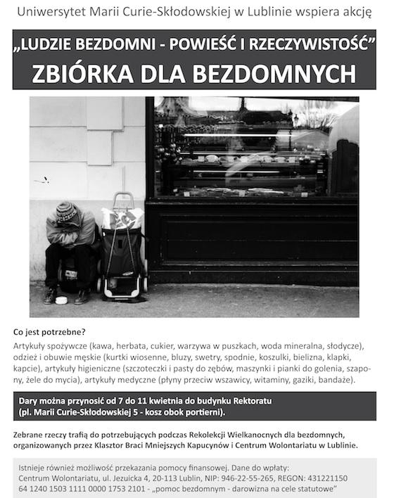Zbiórka dla bezdomnych - Wielkanoc 2014 - plakat