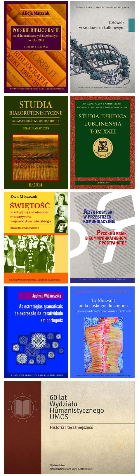 Obrazek z okładkami książek Wydawnictwa UMCS z grudnia 2014 r.