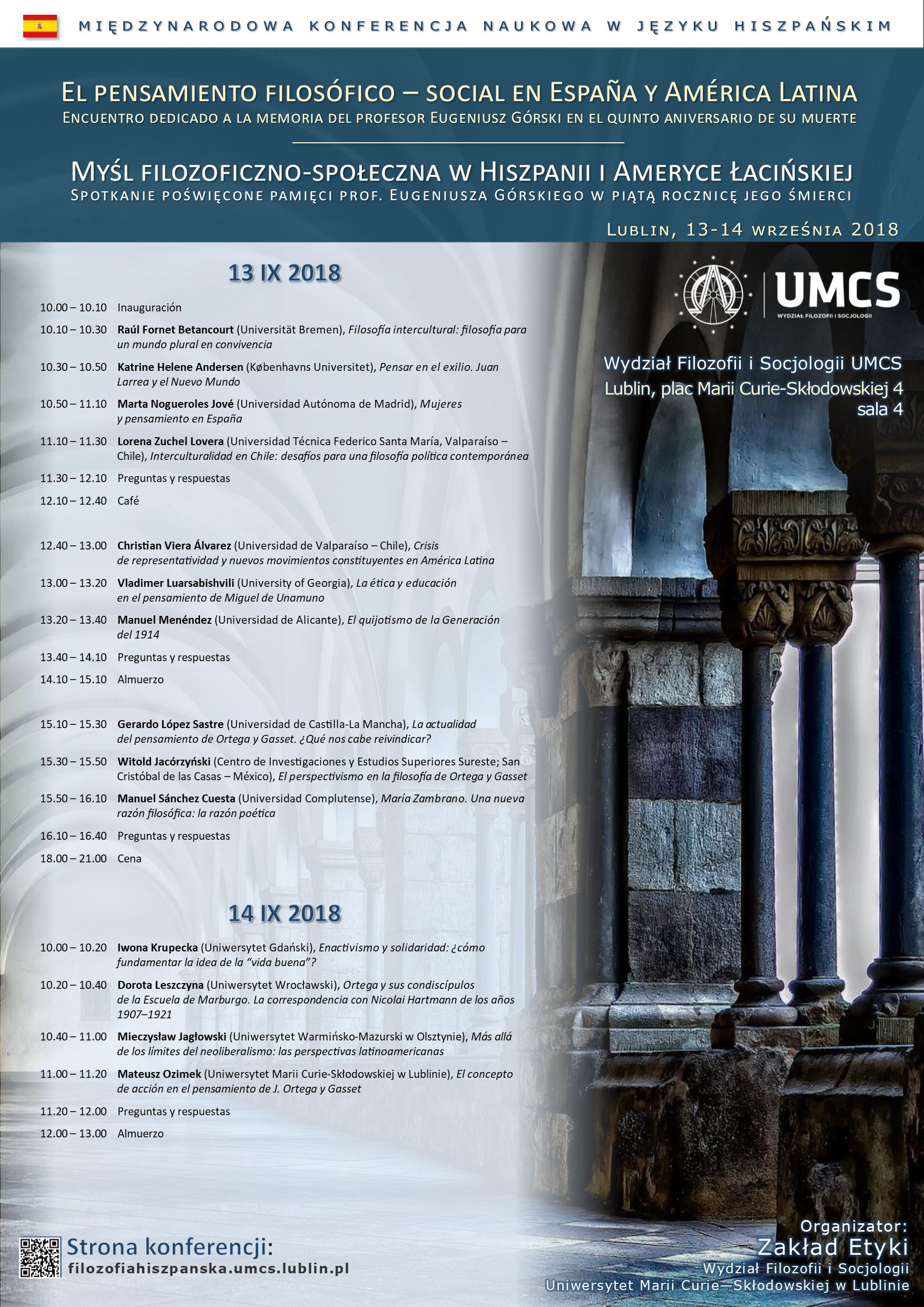 Plakat konferencji Myśl filozoficzno-społeczna w Hiszpanii.png