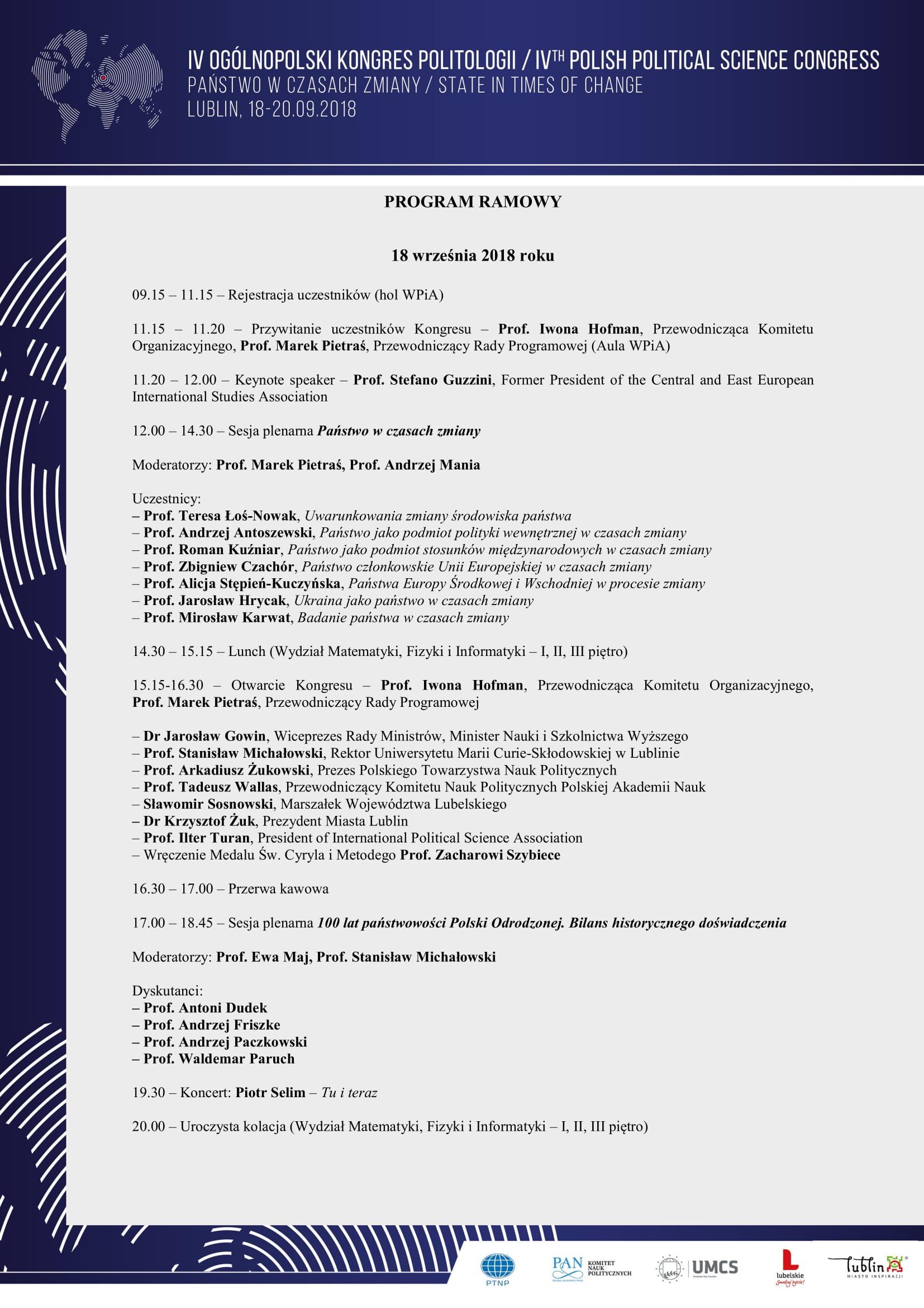 Program ramowy IV Ogólnopolskiego Kongresu Politologii - Państwo w  czasach zmiany-1.jpg