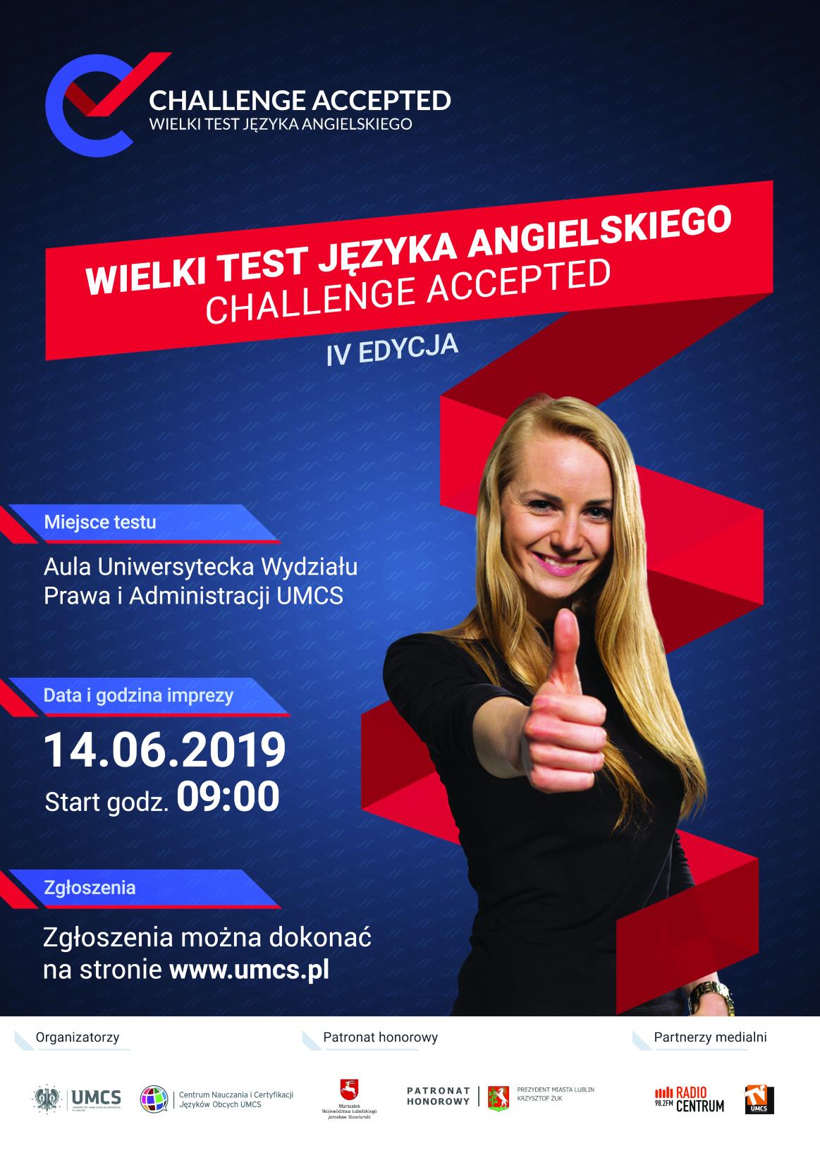 """Plakat Wielkiego Testu Języka Angielskiego """"Challenge Accepted""""-2.png"""