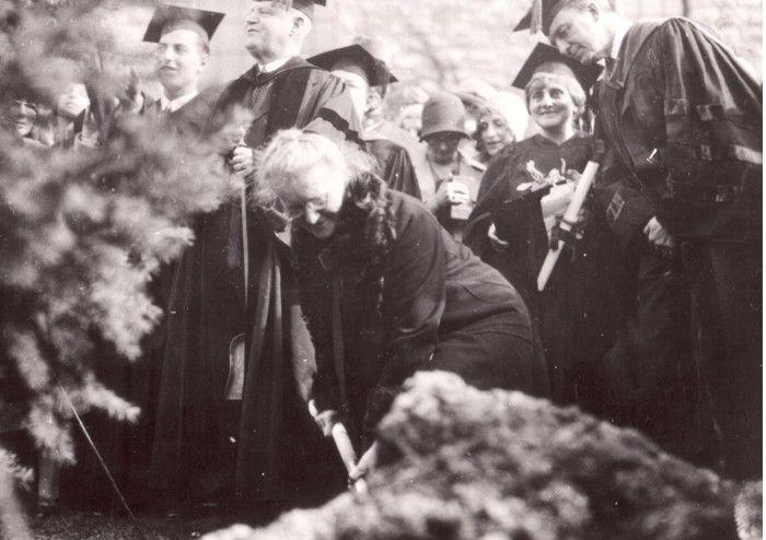 M. Curie-Skłodowska sadzi drzewko na dziedzińcu Instytutu...