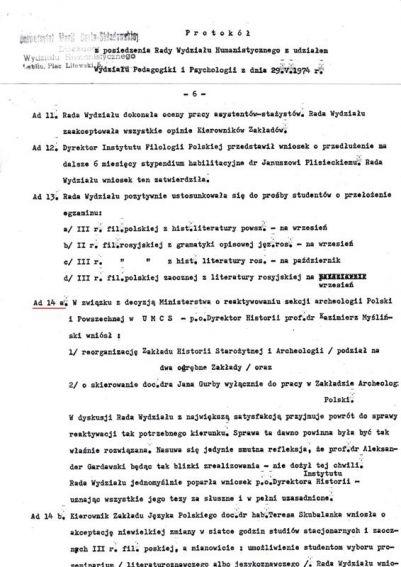 Rozdzielenie Zakładu Historii Starożytnej i Archeologii IH.