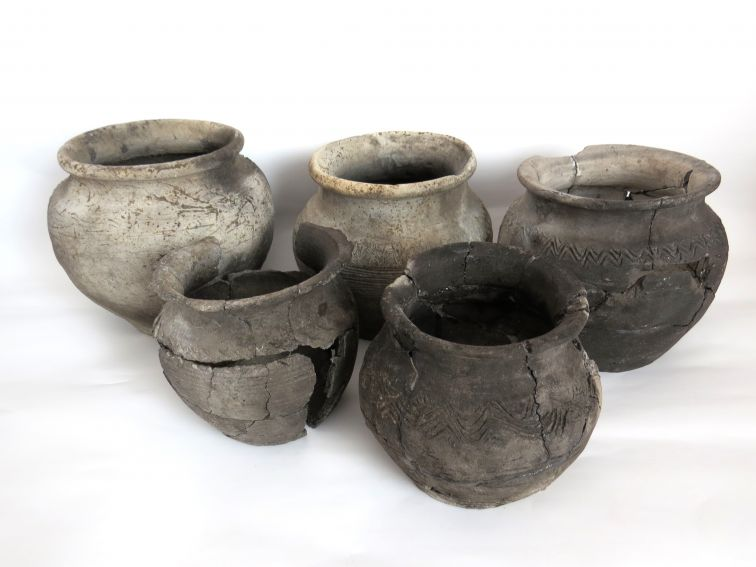 Naczynia z XI w. odkryte w półziemiance.