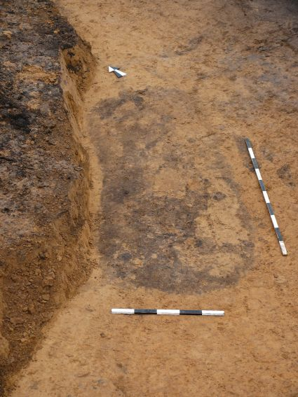 Ryc. 4: Zarys owalnej jamy grobowej na poziomie odkrycia.