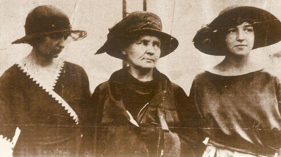 Maria z córkami Ireną i Ewą w podróży do USA 1921 r.