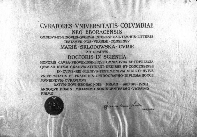 Dyplom doktora honoris causa Uniwersytetu Columbia 1921 r.
