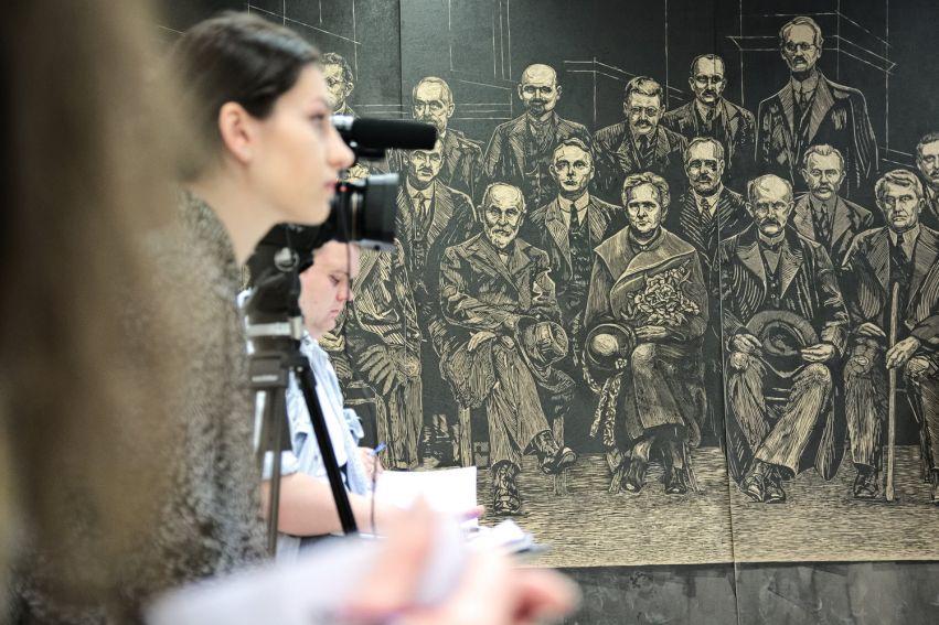 Konferencja prasowa - grafika dla Curie-Skłodowskiej