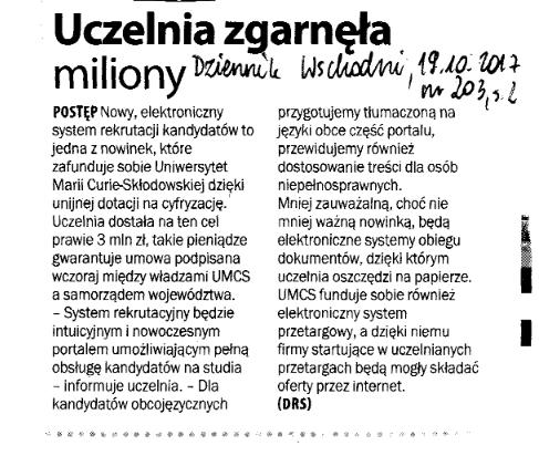 Dziennik Wschodni, 19 października 2017 r. (wydanie...