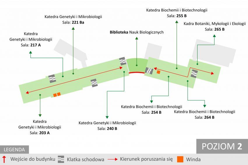 Mapa Wydziału Biologii i Biotechnologii