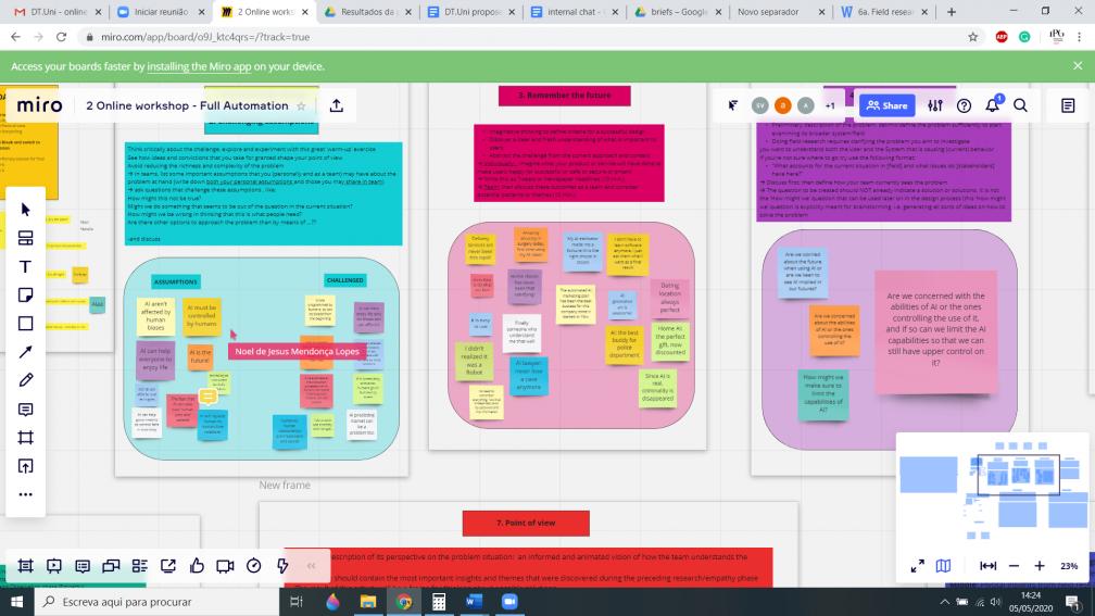 Online design thinking workshop (May 2020)