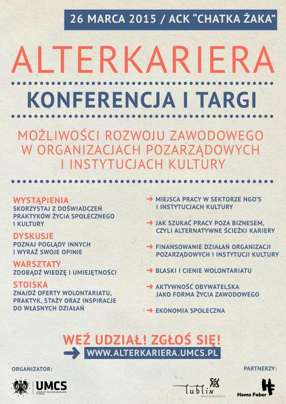 Alterkariera Zaproszenie Na Konferencję I Targi Marzec 2015