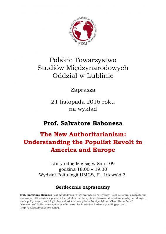 Zaproszenie Na Wykład Prof S Babonesa Listopad 2016