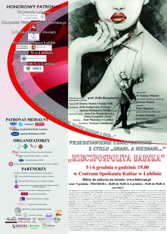Zaproszenie Na Spektakl Lubelskiej Akcji Charytatywnej Listopad