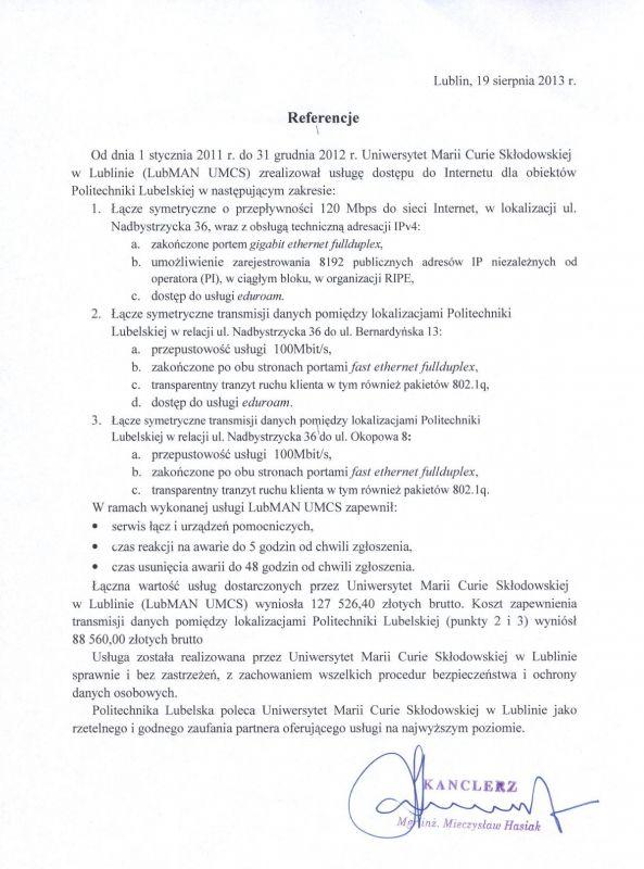 Referencje - Politechnika Lubelska