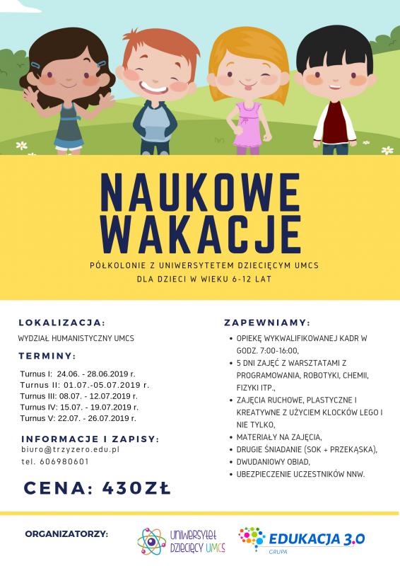 """Plakat """"Naukowe wakacje"""".png"""