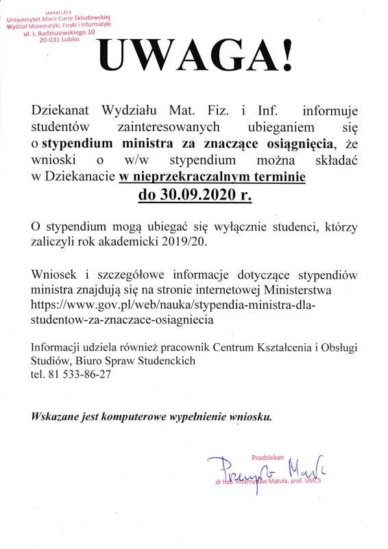 Wydz. MFiI - styp. ministra za znaczące osiągnięcia za rok akad. 2019-2020-1.jpg