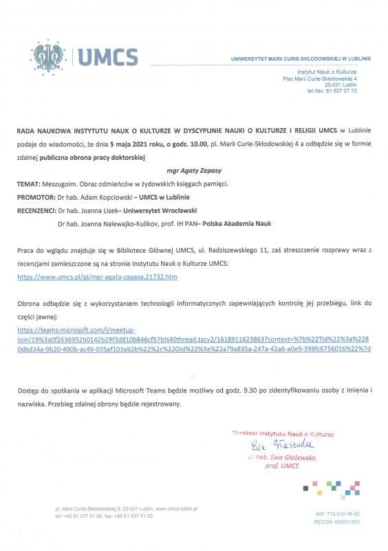 Ogłoszenie o obronie rozprawy doktorskiej mgr A. Zapasy.jpg