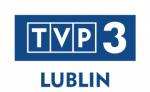 Grafika zawiera logo Telewizji Polskiej programu trzeciego regionalnego z Lublina białe litery TVP 3 na granatowym tle, i granatowy napis Lublin na białym tle.