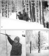 a) Pomiary śniegowe w profilu na Szeroki Wierch (6 lutego 1985), b) W profilu Ustrzyki Górne – Szeroki Wierch wysokość pokrywy śnieżnej osiągała 165 cm (6 lutego 1985), c) Śniegowskaz w górnej części profilu Równi – Żuków