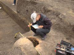 dokumentacja obiektu piecowego znalezionego pod nasypem...