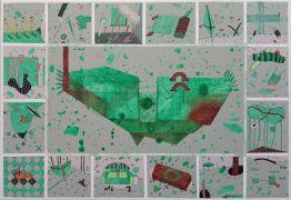 """We All Live In A Green Submarine"" akryl, płótno, 70 x..."