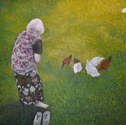 4 białe 3 czerwone, 100x100 cm, akryl na płótnie, 2012.jpeg