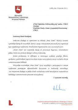 Dzień Ziemi 2014 - Podziękowanie - Marszałek Województwa...