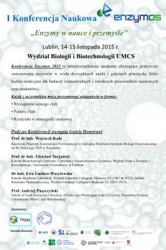 """I Konferencja Naukowa Enzymos: """"Enzymy w nauce i przemyśle"""""""