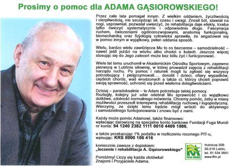 Prośba o pomoc dla dr. Adama Gąsiorowskiego