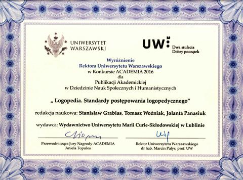 Wyróżnienie dla książki z UMCS w konkursie ACADEMIA 2016