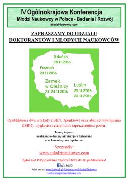 IV Ogólnokrajowa Konferencja - Młodzi naukowcy w Polsce