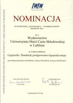 """Wyróżnienie za publikację """"Logopedia. Standardy..."""
