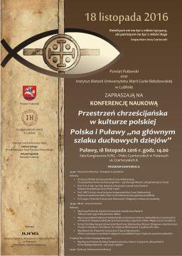 """Konferencja: """"Przestrzeń chrześcijańska w kulturze..."""
