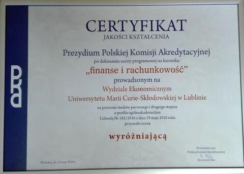 Finanse i rachunkowość z Certyfikatem Jakości Kształcenia