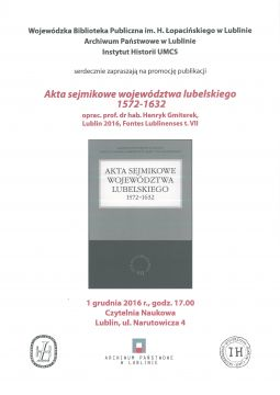 Promocja Publikacji: Akta Sejmikowe...