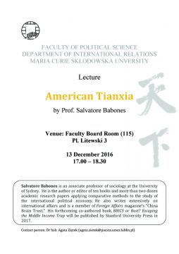 American Tianxia - Lecture by Prof. Salvatore Babones