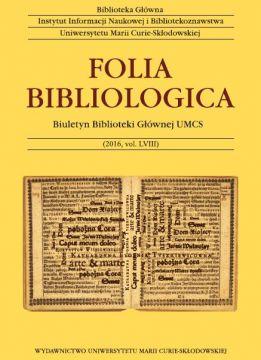 """Ukazał się kolejny tom """"Folia Bibliologica""""..."""