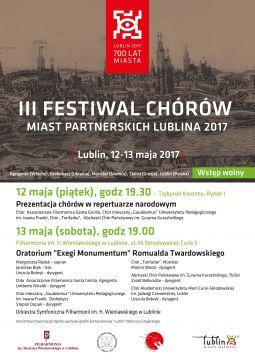 III Festiwal Chórów Miast Partnerskich Lublina - zaproszenie