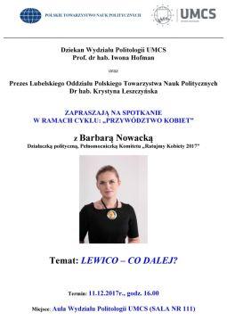 Przywództwo kobiet. Spotkanie z Barbarą Nowacką