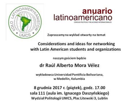 Zaproszenie na wykład dr. Raúla Alberto Mora Véleza