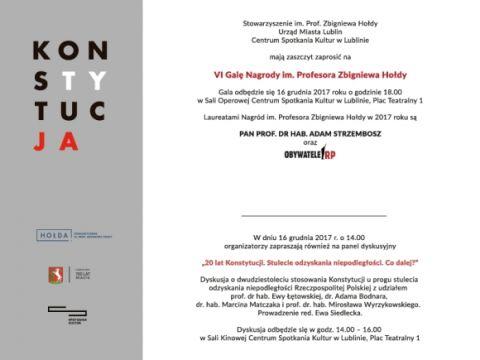 VI Gala Nagrody im. Profesora Zbigniewa Hołdy - zaproszenie
