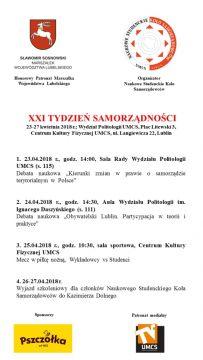 XXI Tygodzień Samorządności
