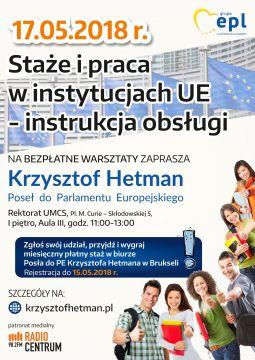 """Warsztaty """"Staże i praca w instytucjach UE"""""""