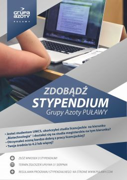 Zdobądź stypendium Grupy Azoty Puławy!